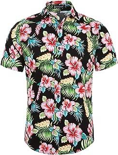 Men Slim Fit Floral Print Short Sleeve Button Down Beach Hawaiian Casual Aloha Shirt