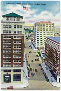 Wichita Falls, Texas - Aerial View of a Downtown Street 29019 (6x9 Aluminum Wall Sign, Wall Decor Ready to Hang)
