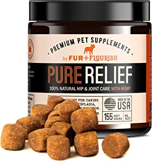 Fur and Flourish Hemp Oil Glucosamine & Turmeric Joint Supplement for Dogs, 155 Organic Soft Chew Treats - USA Made, PureRelief for Hip Dysplasia Joint Disorders Pain & Inflammation