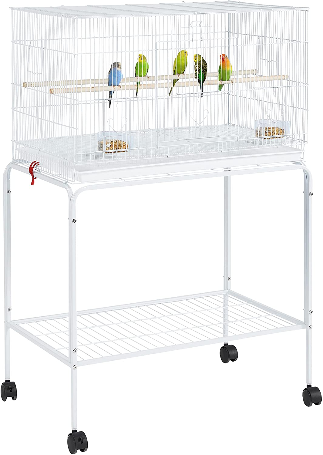 Yaheetech 47-inch Flight Bird Cages for Parakeets Cockatiels Conures Budgies Finches Lovebirds Canaries Parrots Breeding Birdcage with Detachable Rolling Stand, White : Kitchen & Dining