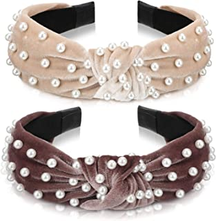 2 Pieces Twisted Faux Pearl Headband Velvet Wide Headband Cross Knot Beading Tie Head Wrap Vintage Turban Hairband for Women Girls (Color Set 2)