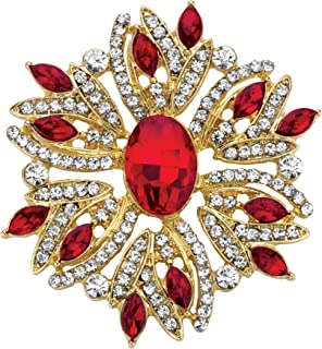 Palm Beach Jewelry Silvertone Marquise Shaped Red and White Crystal Holiday Snowflake Pin