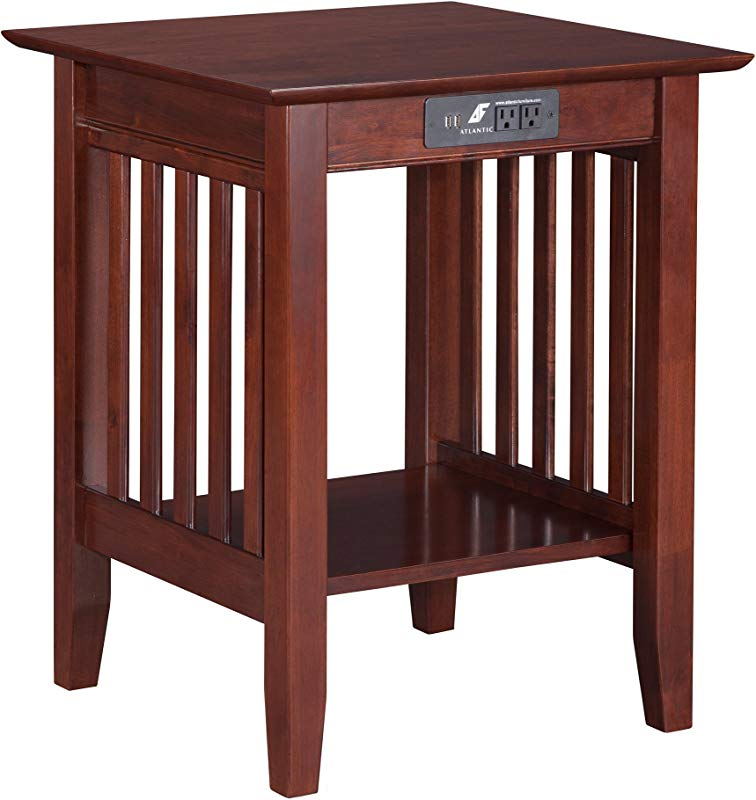 Atlantic Furniture AH10234 Mission Printer Stand With Charging Station Walnut