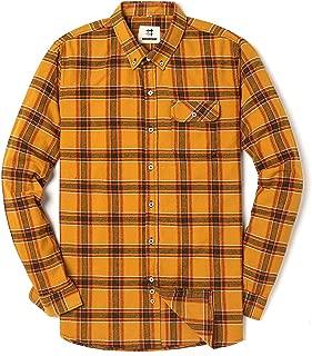 Men's Long Sleeve Flannel Plaid Dress Shirt Western Button Down Shirts