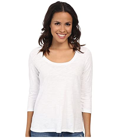 Mod-o-doc Slub Jersey 3/4 Sleeve Scoop Neck Tee (White) Women