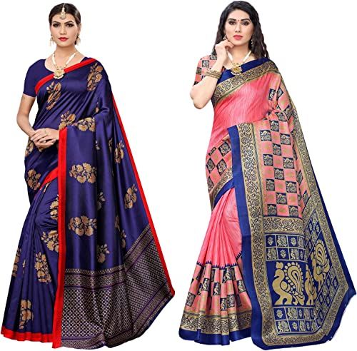 Satrani Women s Art Silk Printed Sarees Combo Pack of 2 1397ST7631 1663ST314 Blue Pink