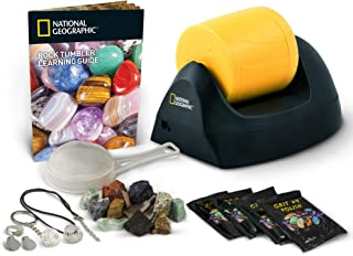 NATIONAL GEOGRAPHIC Starter Rock Tumbler Kit-Includes Rough Gemstones, 4 Polishing Grits,..