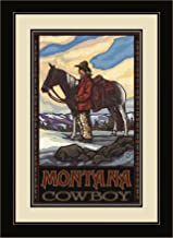 Northwest Art Mall PAL-0338 FGDM CBH Montana Cowboy and Horse Framed Wall Art by Artist Paul A. Lanquist, 16 by 22-Inch