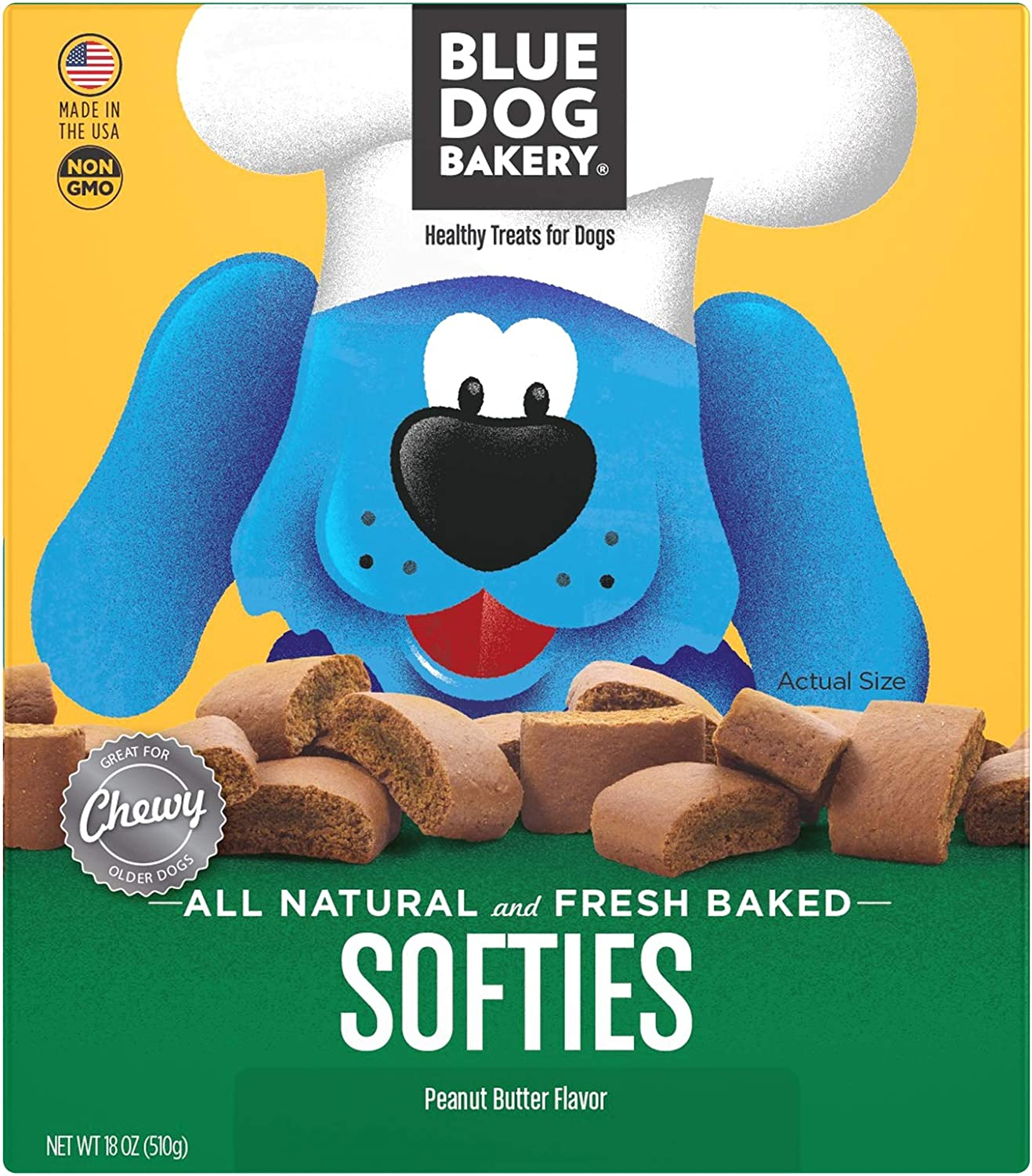 bluee Dog Bakery Softies, Peanut Butter Flavor, All Natural and Fresh Baked 18 Ounce