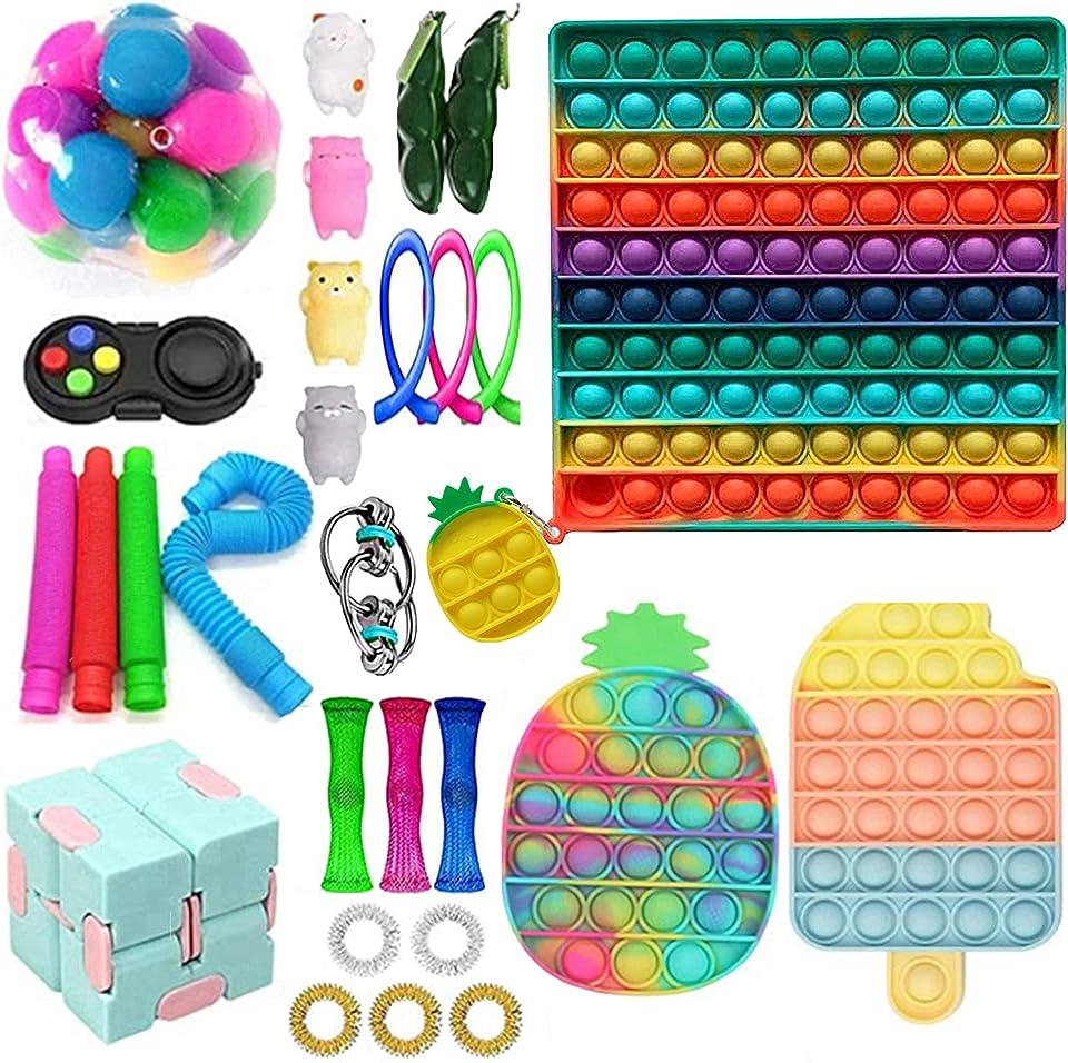 Fidget Toy Set, Big Fidget Toy with Pop Anxiety Tubes Anti Stress Pop Bubble Sensory Fidget Toy Fidget Spielzeug Set für Kinder