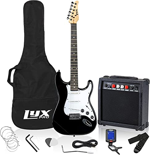 """popular LyxPro Electric Guitar 39"""" inch Complete Beginner Starter kit Full Size sale with 20w Amp, Package Includes All Accessories, Digital Tuner, Strings, Picks, discount Tremolo Bar, Shoulder Strap, and Case Bag - Black outlet online sale"""