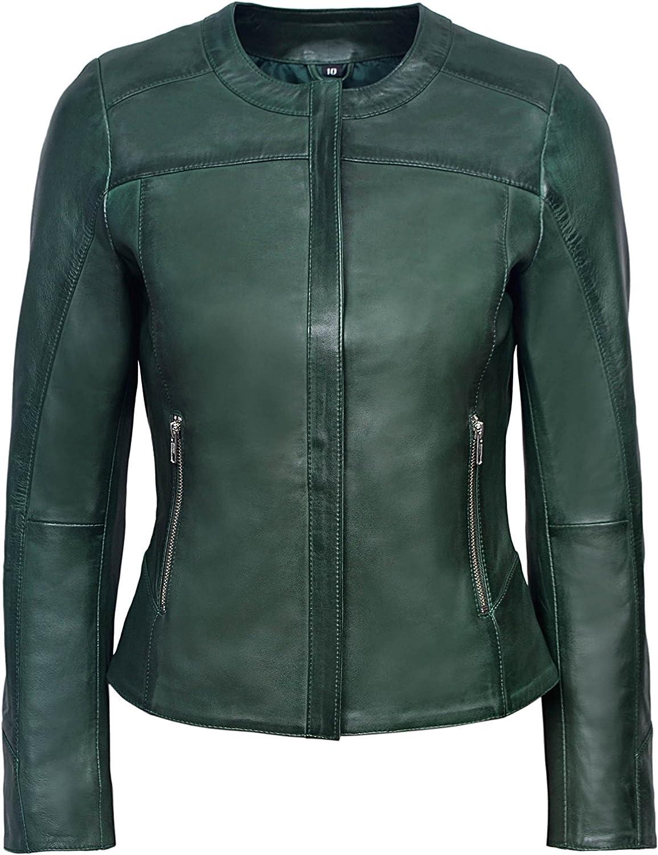 Ladies 5328 Dark Green Stylish Fashion Designer Quilted Soft Real Leather Jacket