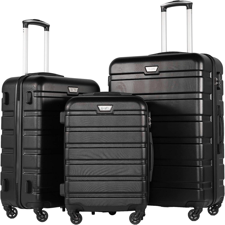 COOLIFE Luggage 3 Piece Set Many popular brands Max 86% OFF Hardshell Spinner Lightweig Suitcase