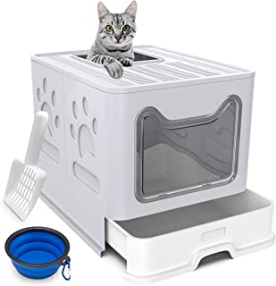 Cat Litter Box Large Pan - Foldable Top Exit Pet Boxes with Entry Lid, Plastic Cleaning Scoop,Cat Nail Clippers,Portable C...