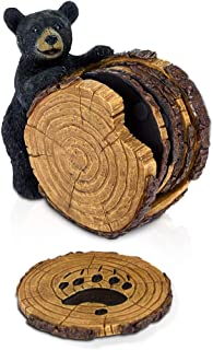 Black Bear Stump Coaster Set - Bear Cabin Decor Coasters for Drinks Set of 5 - Bear Gifts for Women Coasters and Holder - ...