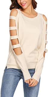 SoTeer Women's Cold Shoulder Sweater Boat Neck Long Sleeve Loose Fitting Sexy Sweatshirt Pullover
