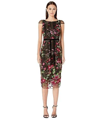 Marchesa Notte Cap Sleeve Embroidered Tea-Length Gown w/ Beaded Detailing and Velvet Ribbon Waist Trim (Black) Women