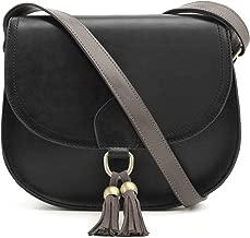 ECOSUSI Saddle Shoulder Bags Purse Vintage Crossbody Bag for Women with Tassels