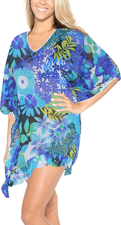 LA LEELA Women's Allover Print Swimwear Cover Up Beachwear Beach Vacation Top J