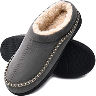 Men's Fuzzy Memory Foam Slippers, Comfort Moccasin Style Slippers Indoor Outdoor Microsuede Fluffy House Shoes