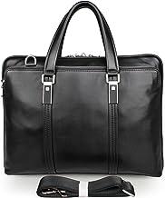 Sponsored Ad - Men`s Full-Grain Leather Waterproof Messenger Bag Briefcase for 15 inch Laptop Size Medium 2 Colors (Black,...