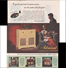 Admiral FM-AM Radio Phonograph Record Playing 1948 Vintage Antique Advertisement
