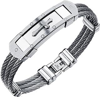 Hommes Gothique En Acier Inoxydable Tressé en Cuir Crâne Croix Love Bracelet Bangle Cuff
