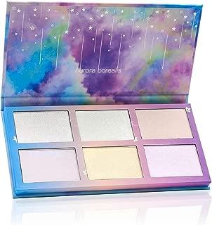 TZ COSMETIX - Aurora Borealis 6 Colors Highlighter / Glow Kit - Wet Soft Cream Powder Illuminating Makeup Palette - with Rainbow Star Box tz-6fb