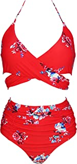 faa8526680 COCOSHIP Women's Ruching High Waist Bikini Set Cross Wrap Push up Top Tie  Back Bathing Swimsuit