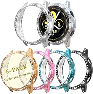 Case Compatible with Galaxy Watch Active 40mm Smartwatch PC Protective Cover Women Girl Bling Crystal Diamonds Shiny Rhine...