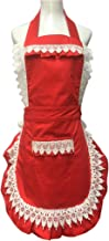 Lovely Lace Work Adjustable Red Apron Home Shop Kitchen Cooking Women Ladies Aprons with Pocket for Gift