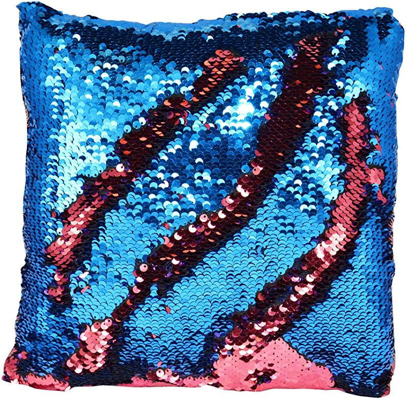 Novelty Inc Color Changing Mermaid Pillow With Reversible Sequins Red Blue