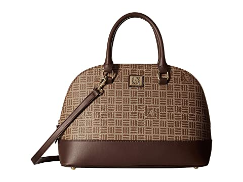 Lion Logo Dome Satchel, Khaki Brown/Walnut