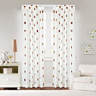 white and rose gold curtains