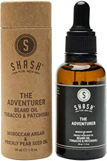 SHASH Adventurer Beard Oil, Tobacco & Patchouli (30ml) All-Natural Formula Supports Faster, Healthier Growth - Reduces Itc...