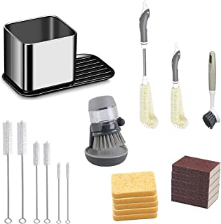 21 Pcs Kitchen Sink Cleaning Set with 1 Sink Caddy, 1 Soap Dispensing Brush, 1 Long and Short Cup & Bottle Brushes, 1 Long...