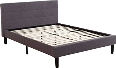 Amazon Com Divano Roma Furniture Tufted Platform Bed Frame W Wooden Slats Deluxe Kitchen Amp Dining
