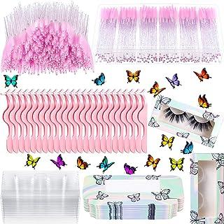 273 Pieces Makeup Applicators Tools Kit Sliver Butterfly Empty False Eyelash Box Tray Disposable Crystal Mascara Wands Eye...