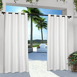 Exclusive Home Curtains Indoor/Outdoor Solid Cabana Grommet Top Curtain Panel Pair, 54x96, Winter White, 2 Piece