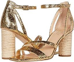 Women's Block Heel Gold Sandals + FREE SHIPPING   Shoes