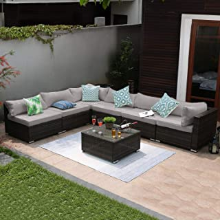 Tribesigns 7 PCS Outdoor Patio Furniture Set, Extra Large Wicker Sectional Sofa Rattan Couch Conversation Set with Waterproof Cushions for Garden, Porch, Backyard, Lawn, Poolside (Gray)