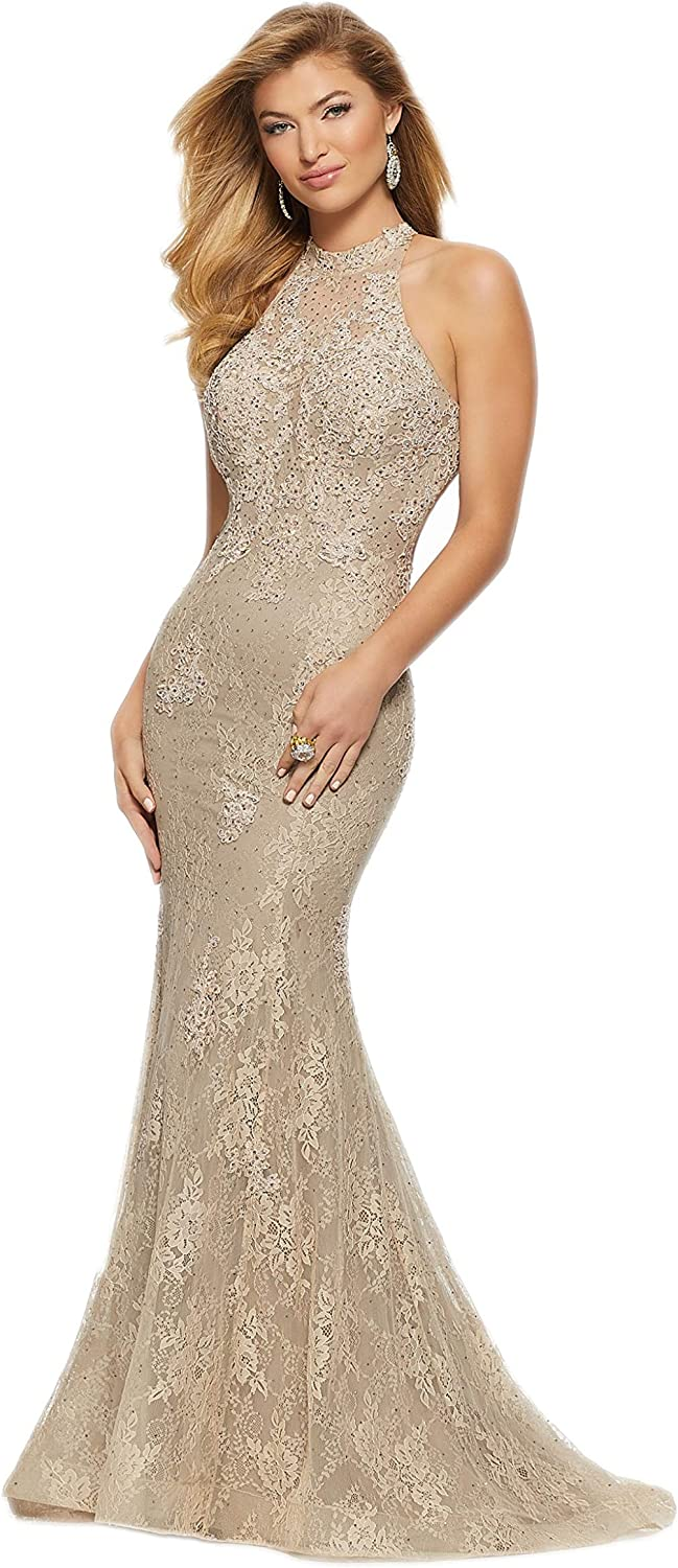 Aishanglina Gorgeous Elegant Round Neckline Backless Mermaid Prom Evening Dress for Women