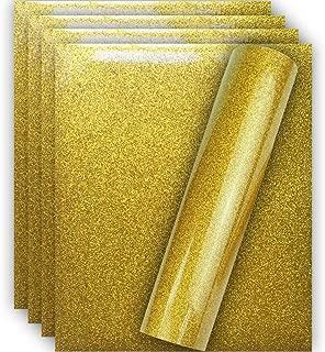 Tvinyl Warehouse Gold Glitter HTV Heat Transfer Vinyl for T-Shirt 12