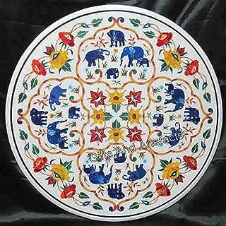 Table de salle à manger ronde en marbre avec motif éléphant et pierres semi-précieuses incrustées 68 cm