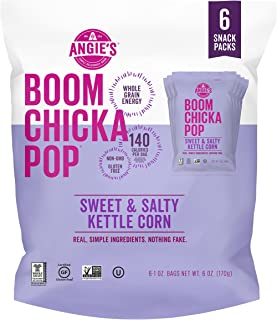 Angie's BOOMCHICKAPOP Gluten Free Sweet & Salty Kettle Corn, 1 Ounce Vegan Snack Pack Bag, 6-Count