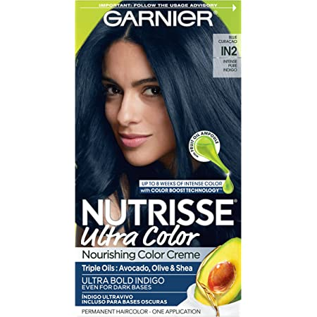 Garnier Nutrisse Ultra Nourishing Hair Color Creme with Triple Oils, Permanent Dye for 100% Gray Coverage, Blue Curaçao IN2
