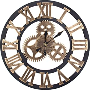Bengenta Vintage Gear Wall Clock 28 inch Noiseless Silent Non-Ticking Wooden Wall Clock - Large 3D Retro Rustic Country Decorative Luxury for House Warming Gift Black&Gold