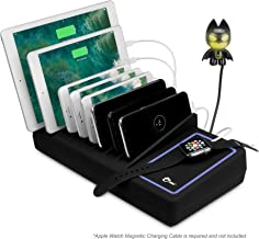 SIIG 90W Smart 10-Port USB Charging Station with Non-Slip Padded Deck and LED Ambient Light for Smartphones, Tablets, and Many Other Compatible USB Powered Devices (Black)