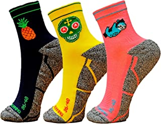 HOOPOE Pack Calcetines Running Mix, 3 Pares, Hombres, Mujer, Divertidos, Pineapple #Lazy, Skully Tallas 36-45