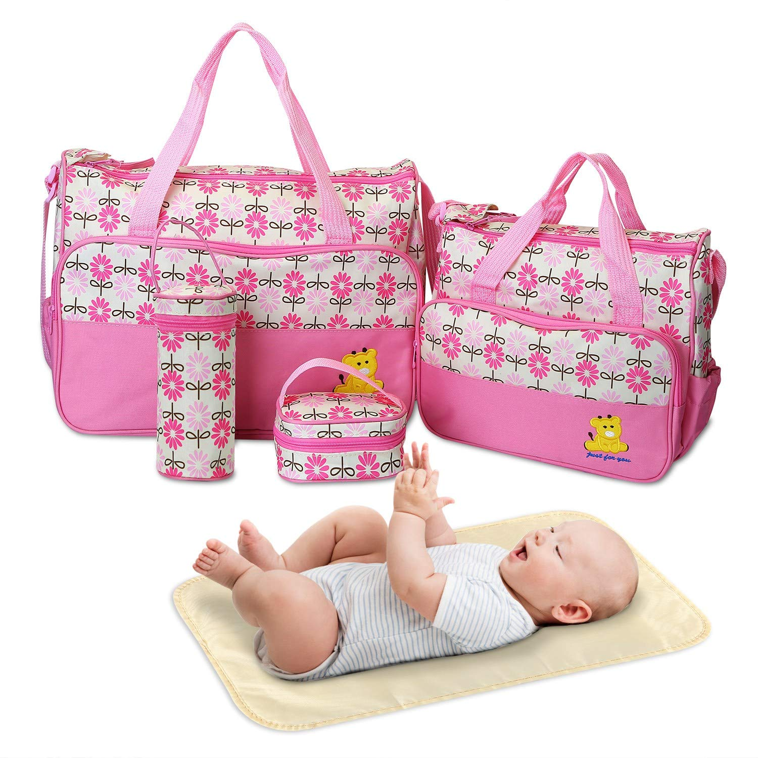 Diaper Bag Tote, Baby Bag for Baby Boy and Baby Girl, 5 Piece Set Baby Diaper Bag, for Mom and Dad (Pink)